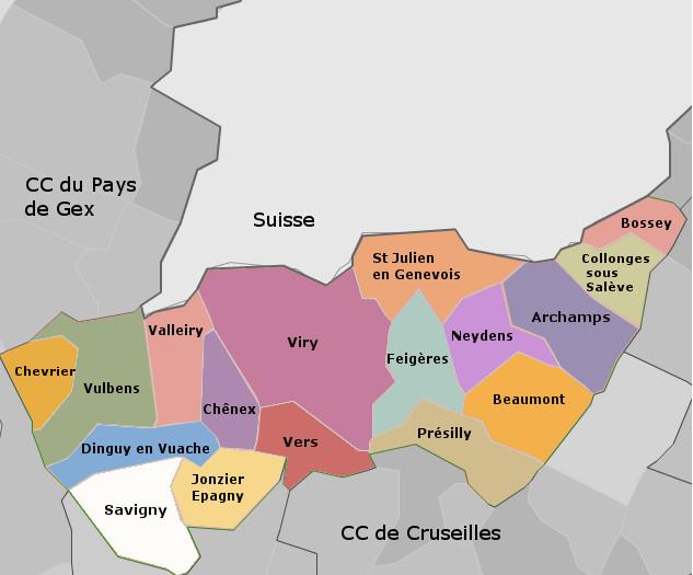 Carte de la Communauté de communes du Genevois
