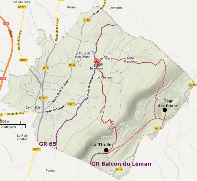 plan circuit de randonnée